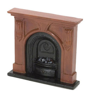 Dollhouse Miniature Fireplace, Medium, Brown