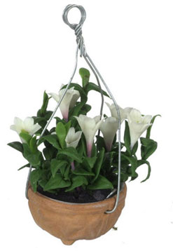 Dollhouse Miniature Browallia Speciosa Hanging Pot/White