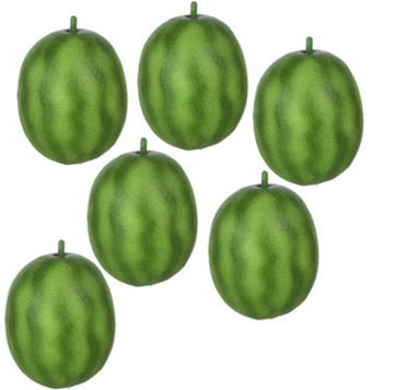 Dollhouse Miniature Watermelon, 6Pc