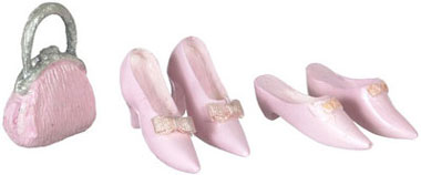 Dollhouse Miniature Shoes, 2 Pairs, W/Purse, Pink