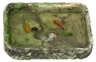 Dollhouse Miniature Fish Pond, W/3 Fishes