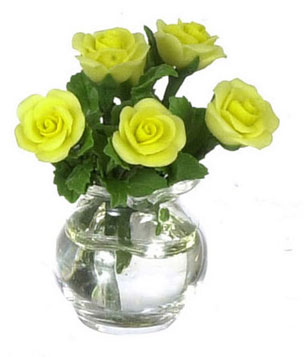 Dollhouse Miniature Roses In Glass Vase, Yellow