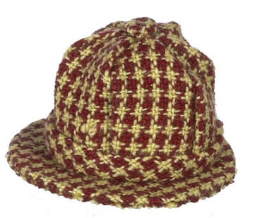 Dollhouse Miniature Men's Hat, Checkered Red