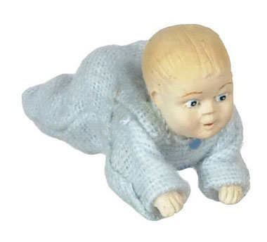 Dollhouse Miniature Crawling Baby-Blue
