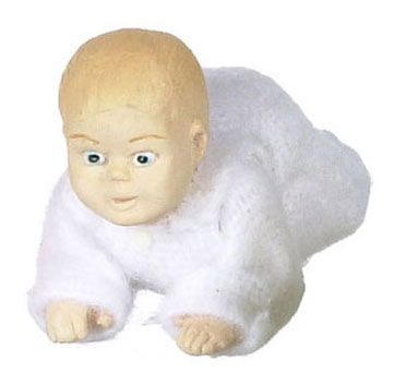 Dollhouse Miniature Crawling Baby-White