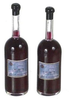 Dollhouse Miniature Red Wine 2Pc