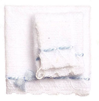 Dollhouse Miniature Baby Towel Set, Blue 3Pc