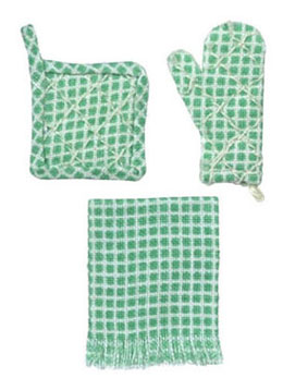 Dollhouse Miniature Pot Holder, Set Of 3, Green