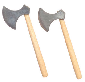 Dollhouse Miniature Axe, 2 Pc