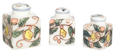 Dollhouse Miniature Hand painted Square Canister, Set Of 3