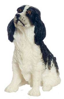 "Dollhouse Miniature Springer Spaniel 1/2"" Black"