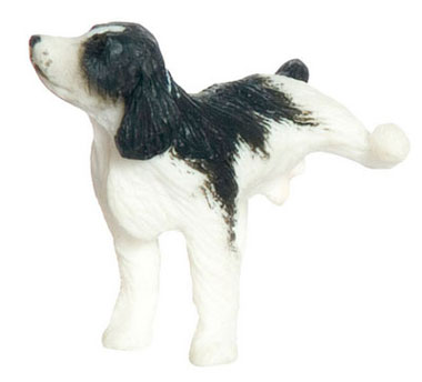 "Dollhouse Miniature Naughty Spaniel 1/2"" Black"