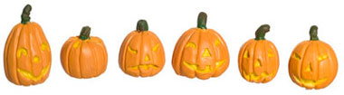 Dollhouse Miniature Halloween Pumpkins, Set Of 6