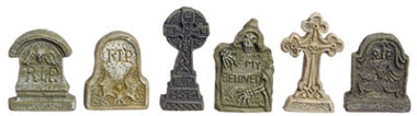 Dollhouse Miniature Tombstone, Set  Of 6