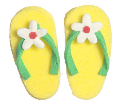 Dollhouse Miniature Flip Flop W/Flower, Yellow