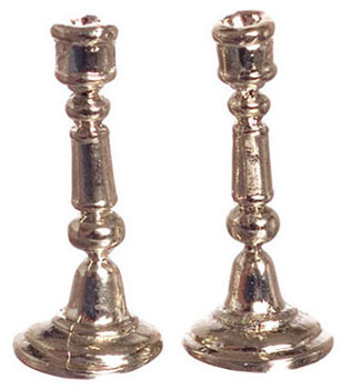 Dollhouse Miniature Candlestick, Silver Plated, 1Pr