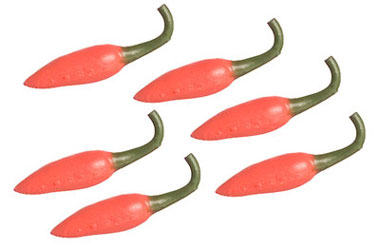 Dollhouse Miniature Red Chilies, 6Pc