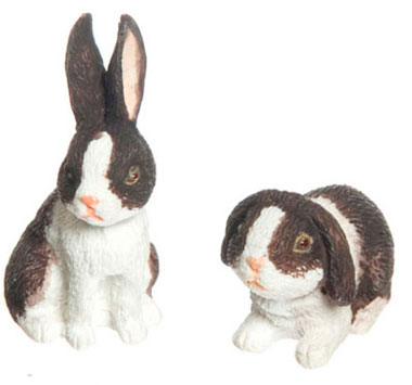 Dollhouse Miniature Rabbit Set Of 2, Brown