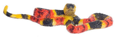 Dollhouse Miniature Eastern Coral Snake, Large, Yellow, Red & Bk