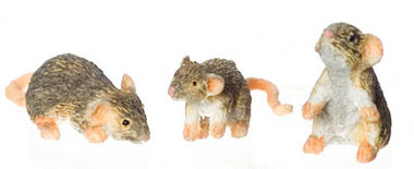 Dollhouse Miniature Mice Set Of 3/Brown