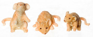 Dollhouse Miniature Mice Set Of 3/Orange