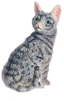 Dollhouse Miniature Cat, Gray