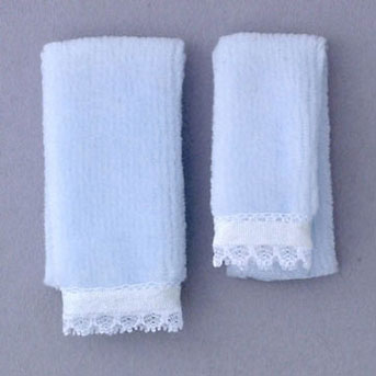 Dollhouse Miniature Towel Set, Blue