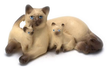 Dollhouse Miniature Mother & Babies, Cat, Siamese Brown