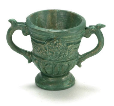 Dollhouse Miniature Roma Urn Green 1Pc