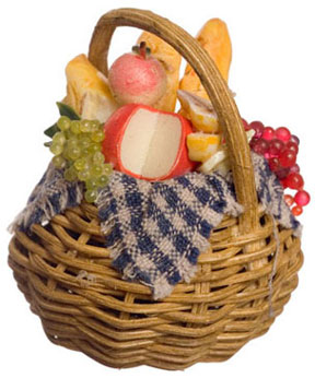 Dollhouse Miniature Basket W/Cheese And Grapes