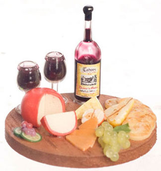 Dollhouse Miniature Cheese & Fruits & Wine On Wooden Board