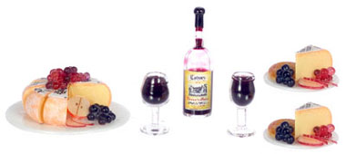 Dollhouse Miniature Cheese & Fruits W/Wine For Two