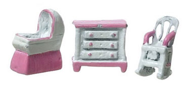 Dollhouse Miniature Baby's Room/Pink/