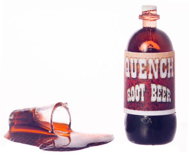 Dollhouse Miniature Spilled Root Beer W/Bottle