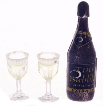 Dollhouse Miniature Champagne Bottle W/Two Glasses, Filled