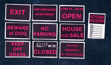 Dollhouse Miniature Cardboard Store Signs, 10/Pk