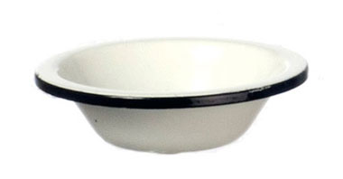 Dollhouse Miniature Dish Pan, White Enamel W/Black Trim
