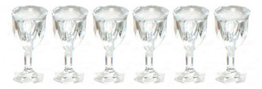 Dollhouse Miniature Cut Stemware, Empty Set, 6
