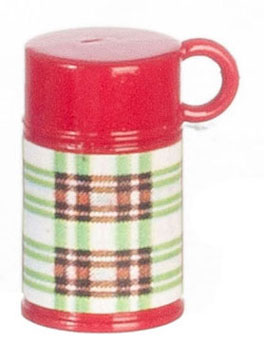 Dollhouse Miniature Plaid Thermos/Green