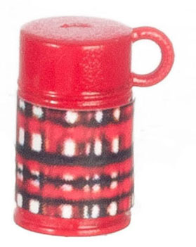 Dollhouse Miniature Plaid Thermos/Red