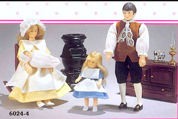 Dollhouse Miniature Colonial Family