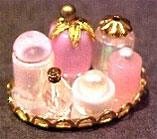 Dollhouse Miniature Small Perfume Tray - Pink