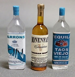 Dollhouse Miniature Liquor Set #4-Whiskey,Gin,Tequila