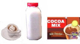 Dollhouse Miniature Hot Cocoa Mix, Quart Of Milk, Cup Of Cocoa