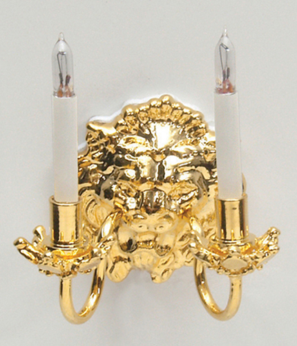 Dollhouse Miniature Lion Double Candle Wall Sconce W/Bi-Pin Bulb