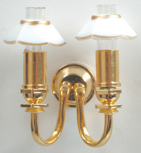 "Dollhouse Miniature 1/2"" Scale: Double Candle Wall Lamp W/Gold & White Shade"