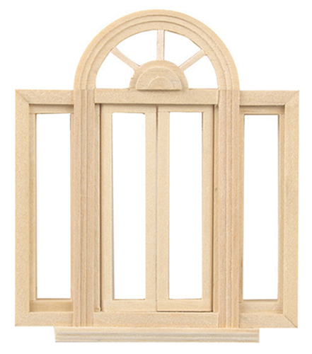 "Dollhouse Miniature 1/2"" Scale: Circle head Double Casement Window"