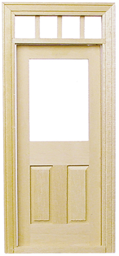 Dollhouse Miniature Traditional 2-Panel Door W/Window