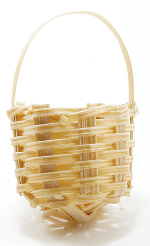Dollhouse Miniature Basket W/Handle