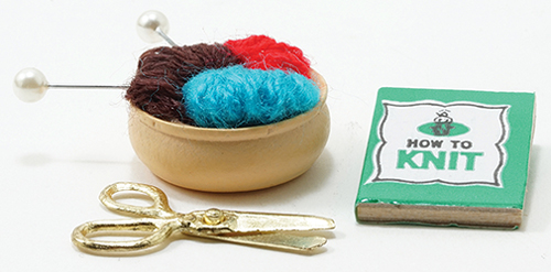 Dollhouse Miniature Knitting Kit, 3/Pc